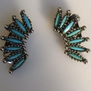 Turquoise color clip earrings